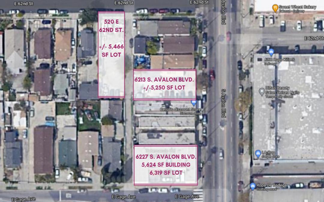 6227 S Avalon Blvd., 520 E 62nd St., 6213 S Avalon Blvd., Los Angeles, CA 90003 – South LA Three Parcel Assemblage Totaling 17,035 Sq. Ft.
